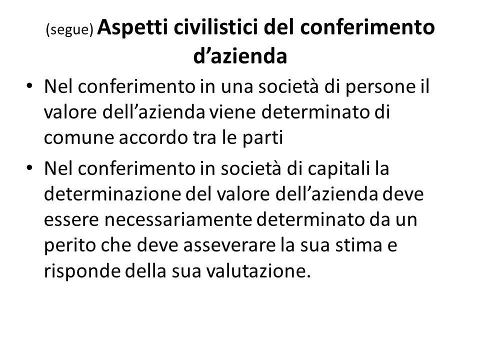 (segue) Aspetti civilistici del conferimento dazienda Nel conferimento in una società di persone il valore dellazienda viene determinato di comune acc