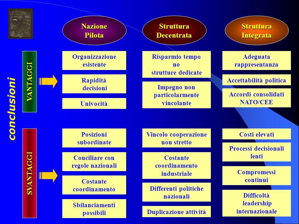 conclusioni SVANTAGGI Nazione Pilota Struttura Decentrata Struttura Integrata Organizzazione esistente Rapidità decisioni Univocità Posizioni subordin