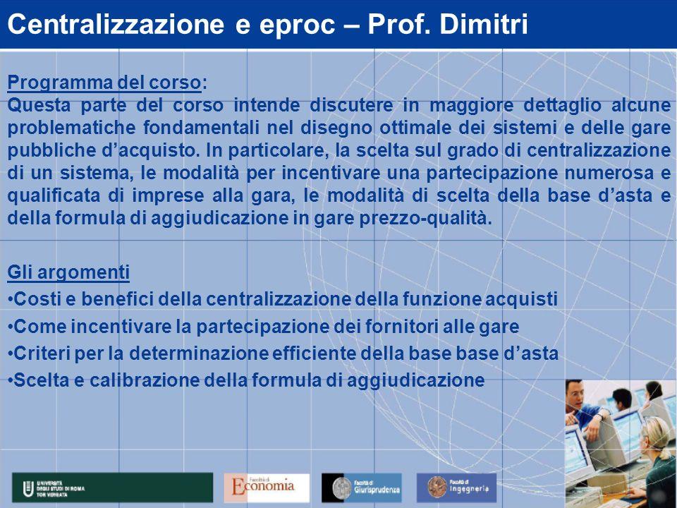 Centralizzazione e eproc – Prof.