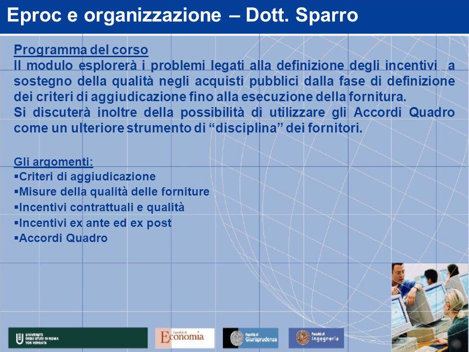 Eproc e organizzazione – Dott.