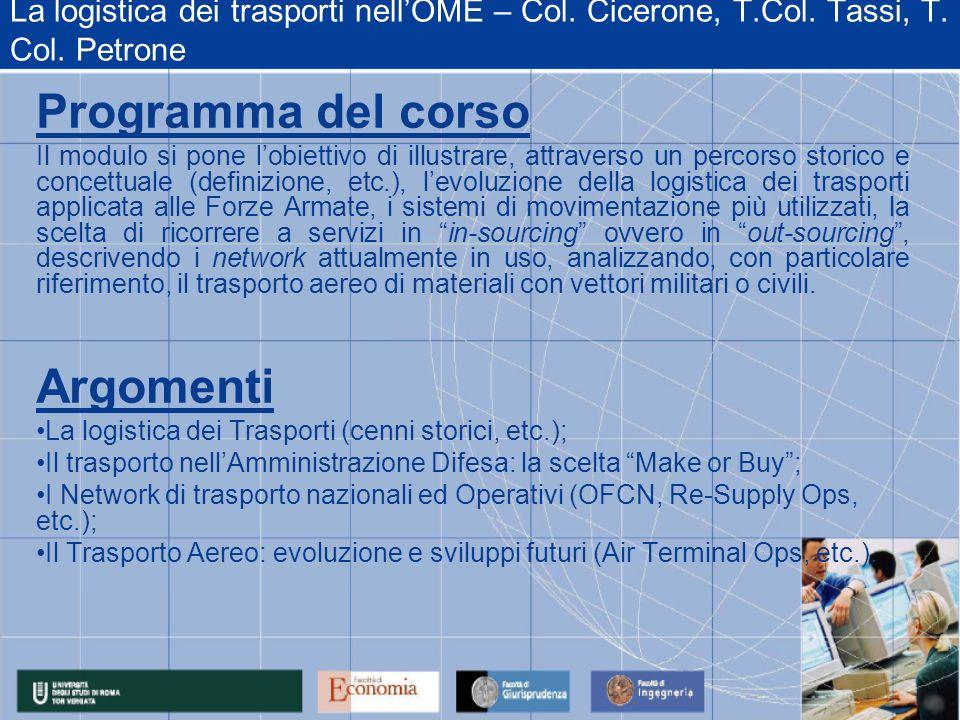 La logistica dei trasporti nellOME – Col. Cicerone, T.Col. Tassi, T. Col. Petrone Programma del corso Il modulo si pone lobiettivo di illustrare, attr