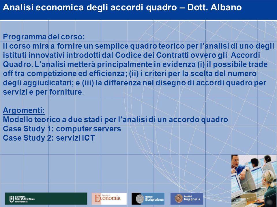 Analisi economica degli accordi quadro – Dott.