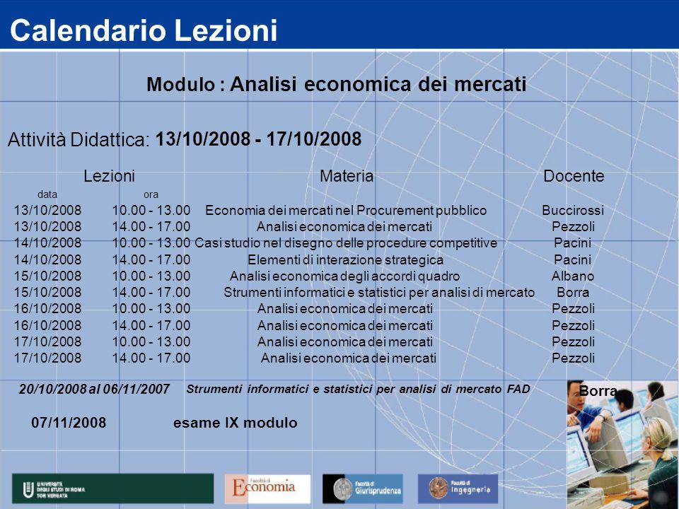 Calendario Lezioni data 13/10/2008 14/10/2008 15/10/2008 16/10/2008 17/10/2008 14.00 - 17.00 Analisi economica dei mercatiPezzoli 14.00 - 17.00Analisi economica dei mercatiPezzoli 10.00 - 13.00Analisi economica dei mercatiPezzoli 14.00 - 17.00 Strumenti informatici e statistici per analisi di mercatoBorra 10.00 - 13.00Analisi economica dei mercatiPezzoli 14.00 - 17.00Elementi di interazione strategicaPacini 10.00 - 13.00Analisi economica degli accordi quadroAlbano 14.00 - 17.00Analisi economica dei mercatiPezzoli 10.00 - 13.00Casi studio nel disegno delle procedure competitivePacini ora 10.00 - 13.00Economia dei mercati nel Procurement pubblicoBuccirossi Attività Didattica: 13/10/2008 - 17/10/2008 LezioniMateriaDocente Modulo : Analisi economica dei mercati Strumenti informatici e statistici per analisi di mercato FAD 20/10/2008 al 06/11/2007 Borra 07/11/2008 esame IX modulo
