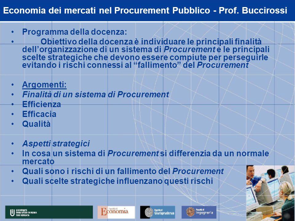 Economia dei mercati nel Procurement Pubblico - Prof.