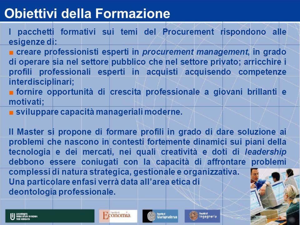 Obiettivi della Formazione I pacchetti formativi sui temi del Procurement rispondono alle esigenze di: creare professionisti esperti in procurement ma