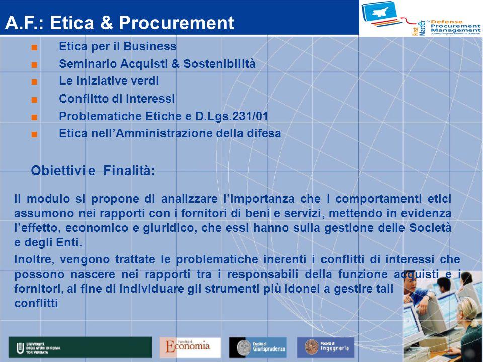A.F.: Contrattualistica Privata - Disciplina generale del contratto Disciplina derogatoria per la P.A.