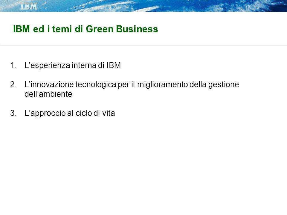 IBM ed i temi di Green Business 1.Lesperienza interna di IBM 2.Linnovazione tecnologica per il miglioramento della gestione dellambiente 3.Lapproccio al ciclo di vita