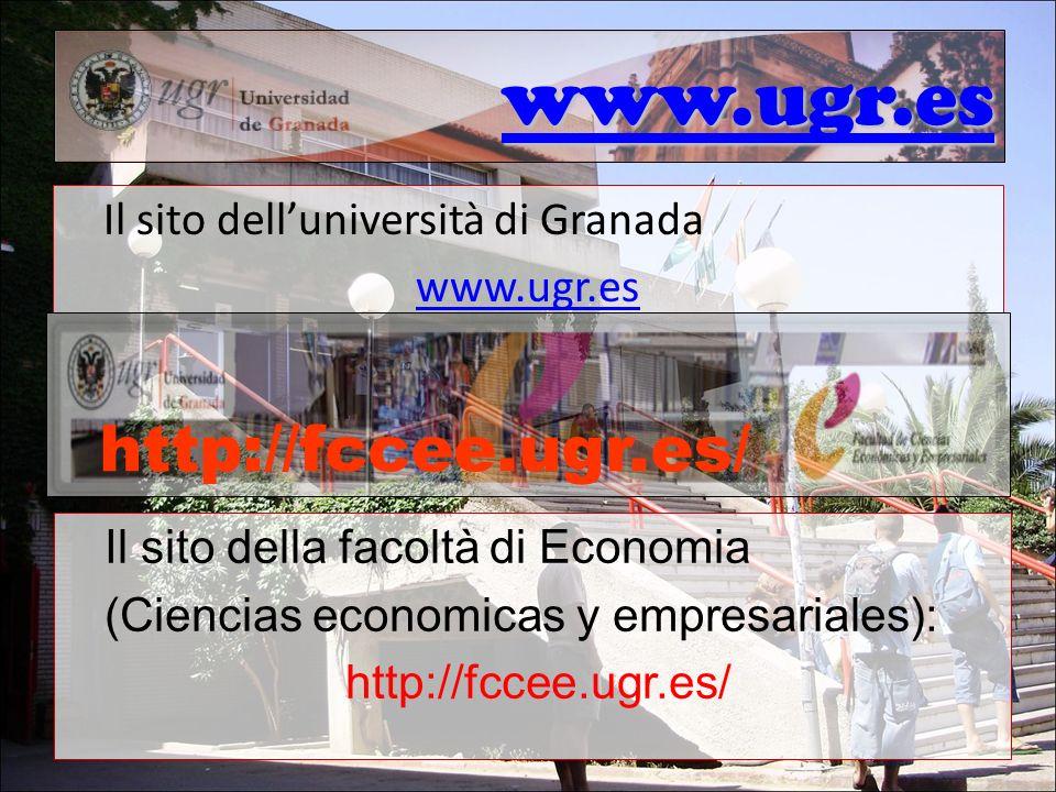www.ugr.es Il sito delluniversità di Granada www.ugr.es http://fccee.ugr.es/ Il sito della facoltà di Economia (Ciencias economicas y empresariales):