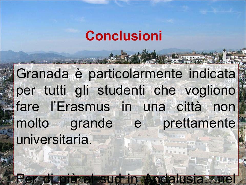 Conclusioni Granada è particolarmente indicata per tutti gli studenti che vogliono fare lErasmus in una città non molto grande e prettamente universit