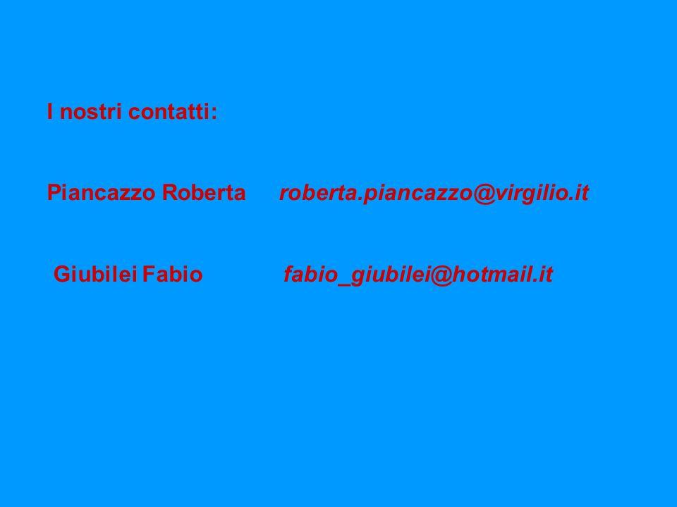 I nostri contatti: Piancazzo Roberta roberta.piancazzo@virgilio.it Giubilei Fabio fabio_giubilei@hotmail.it