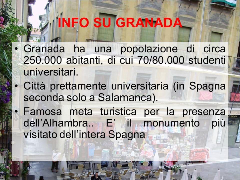 INFO SU GRANADA Granada ha una popolazione di circa 250.000 abitanti, di cui 70/80.000 studenti universitari. Città prettamente universitaria (in Spag