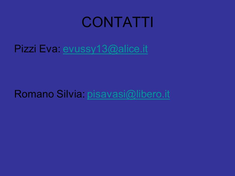 CONTATTI Pizzi Eva: evussy13@alice.itevussy13@alice.it Romano Silvia: pisavasi@libero.itpisavasi@libero.it