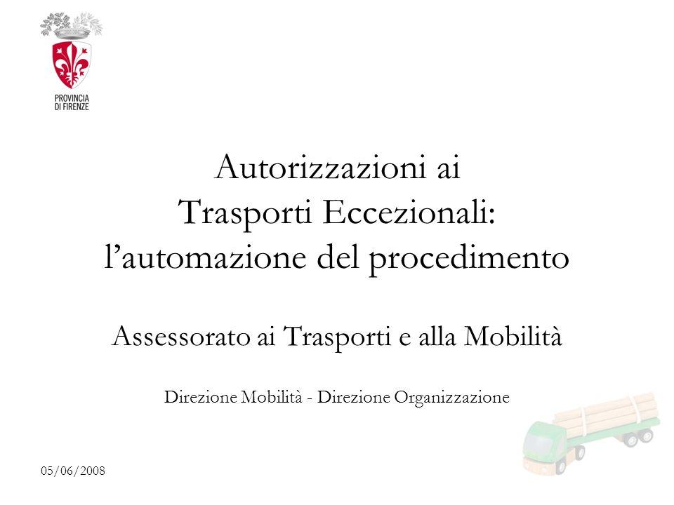 05/06/2008 Autorizzazioni ai Trasporti Eccezionali: lautomazione del procedimento Assessorato ai Trasporti e alla Mobilità Direzione Mobilità - Direzione Organizzazione