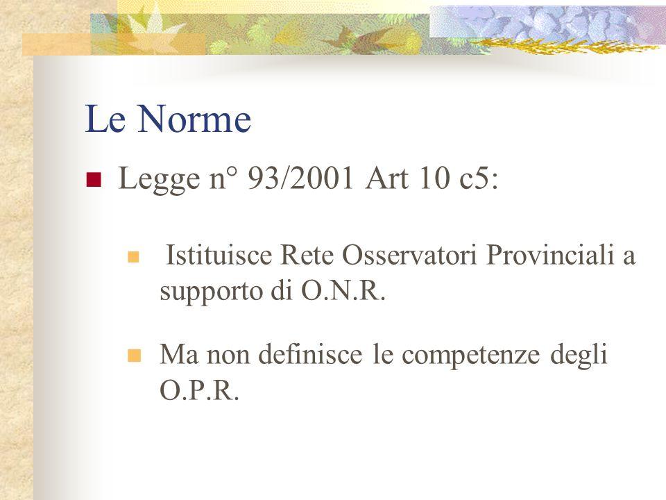 Le Norme Legge n° 93/2001 Art 10 c5: Istituisce Rete Osservatori Provinciali a supporto di O.N.R.