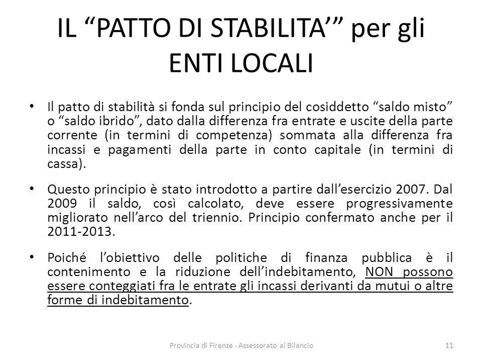 Provincia di Firenze - Assessorato al Bilancio11 IL PATTO DI STABILITA per gli ENTI LOCALI Il patto di stabilità si fonda sul principio del cosiddetto