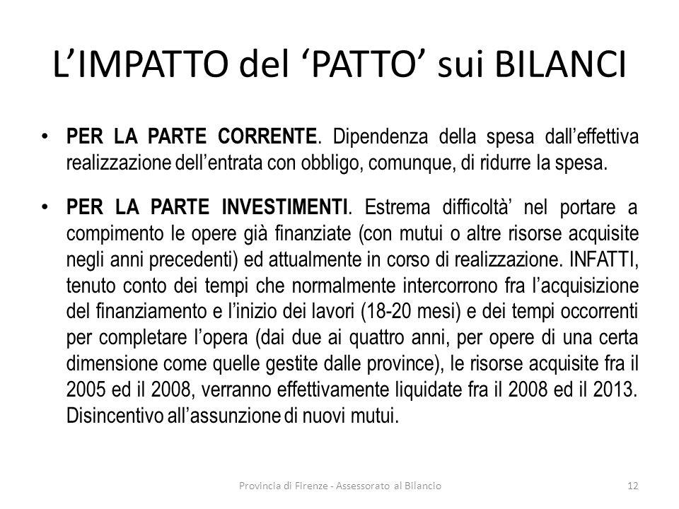 Provincia di Firenze - Assessorato al Bilancio12 LIMPATTO del PATTO sui BILANCI PER LA PARTE CORRENTE. Dipendenza della spesa dalleffettiva realizzazi