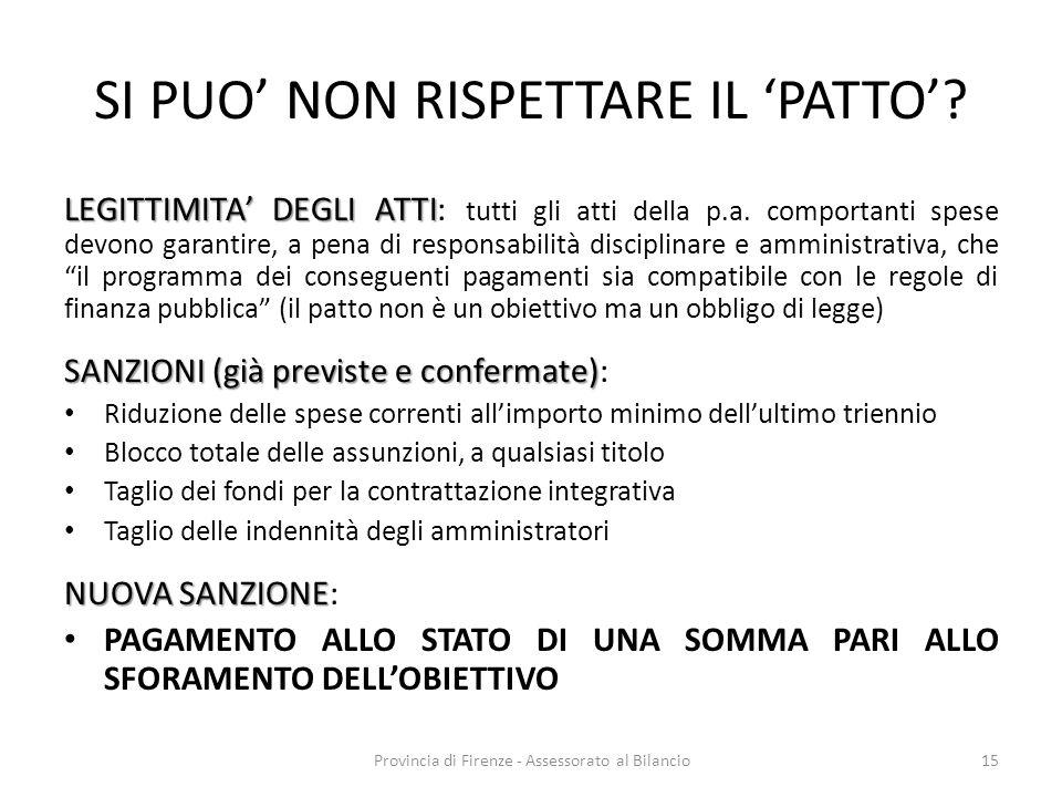 Provincia di Firenze - Assessorato al Bilancio15 SI PUO NON RISPETTARE IL PATTO? LEGITTIMITA DEGLI ATTI LEGITTIMITA DEGLI ATTI: tutti gli atti della p