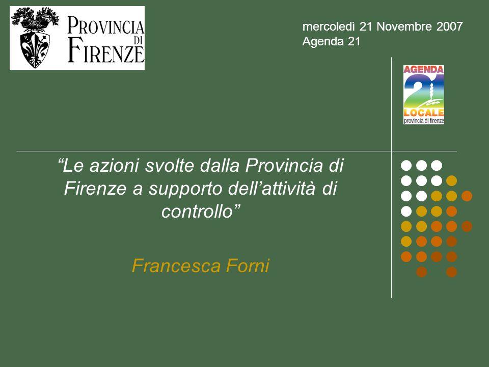 Le azioni svolte dalla Provincia di Firenze a supporto dellattività di controllo Francesca Forni mercoledì 21 Novembre 2007 Agenda 21