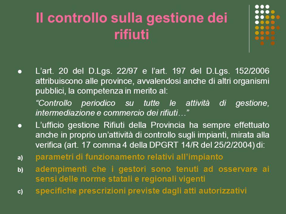 Il controllo sulla gestione dei rifiuti Lart. 20 del D.Lgs. 22/97 e lart. 197 del D.Lgs. 152/2006 attribuiscono alle province, avvalendosi anche di al