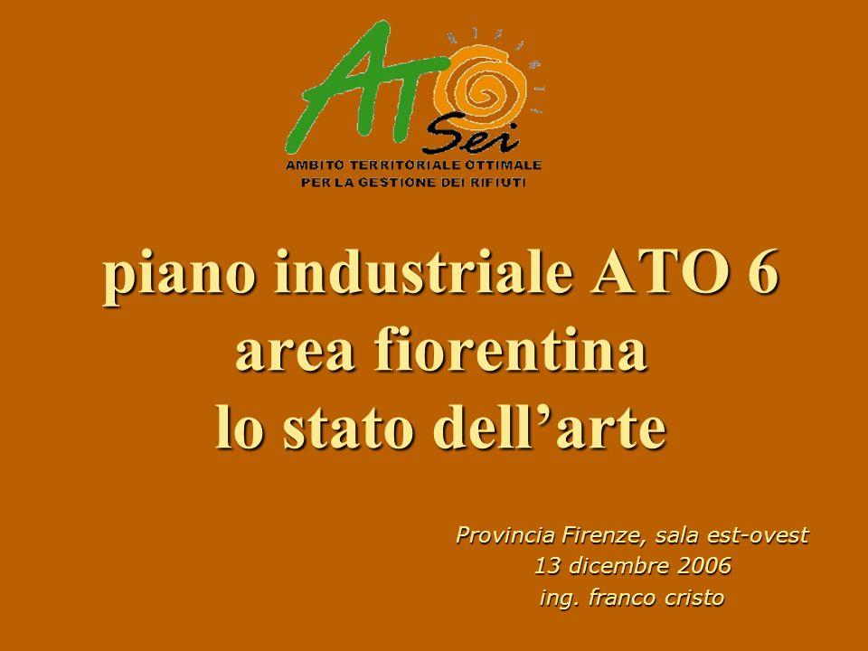 piano industriale ATO 6 area fiorentina lo stato dellarte Provincia Firenze, sala est-ovest 13 dicembre 2006 ing. franco cristo