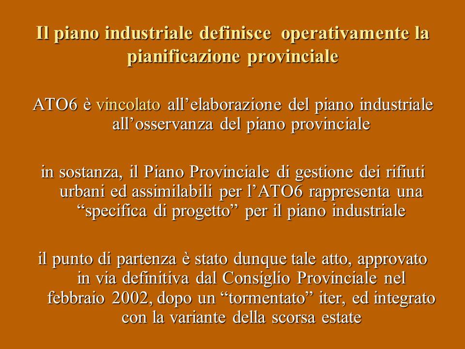 Il piano industriale definisce operativamente la pianificazione provinciale ATO6 è vincolato allelaborazione del piano industriale allosservanza del p