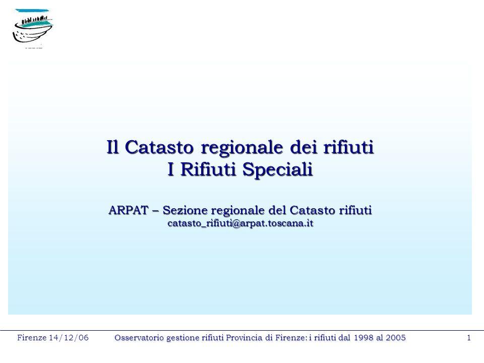 Firenze 14/12/06Osservatorio gestione rifiuti Provincia di Firenze: i rifiuti dal 1998 al 20051 Il Catasto regionale dei rifiuti I Rifiuti Speciali AR