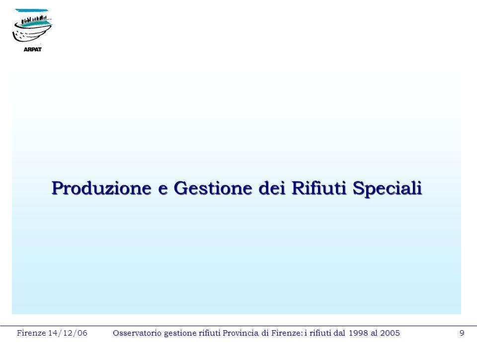 Firenze 14/12/06Osservatorio gestione rifiuti Provincia di Firenze: i rifiuti dal 1998 al 20059 Produzione e Gestione dei Rifiuti Speciali