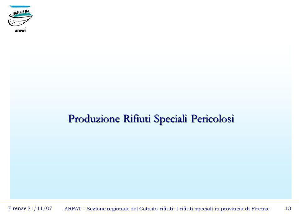 Firenze 21/11/07 ARPAT – Sezione regionale del Catasto rifiuti: I rifiuti speciali in provincia di Firenze 13 Produzione Rifiuti Speciali Pericolosi