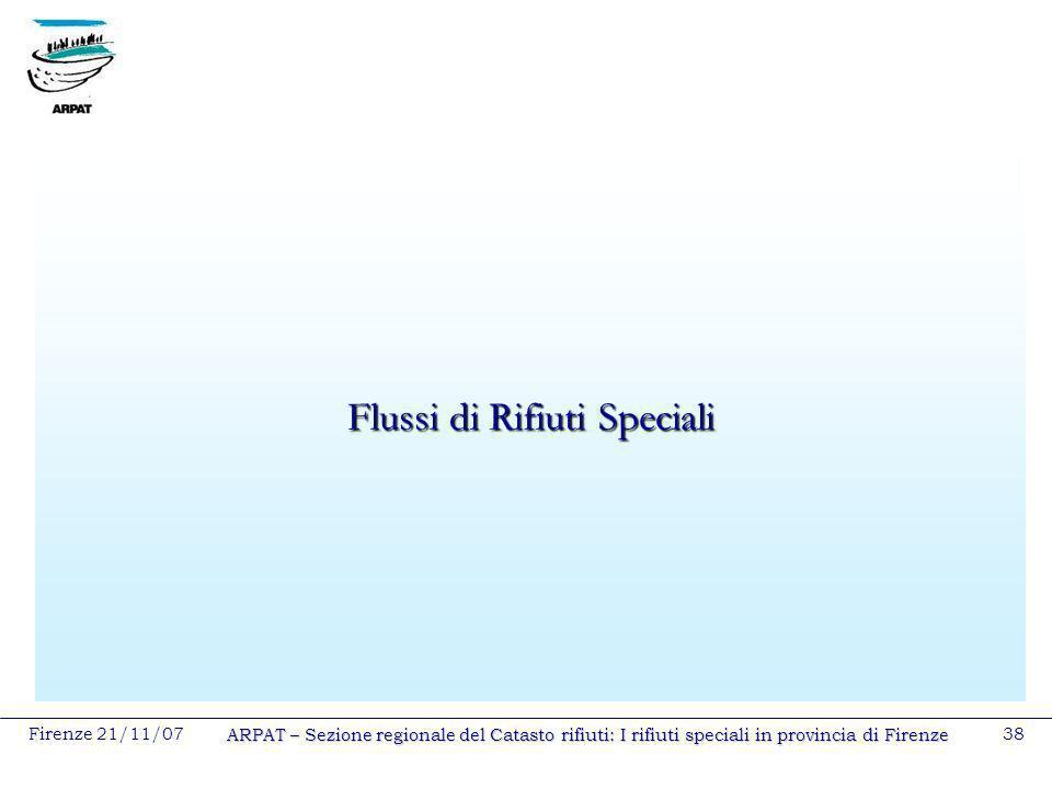 Firenze 21/11/07 ARPAT – Sezione regionale del Catasto rifiuti: I rifiuti speciali in provincia di Firenze 38 Flussi di Rifiuti Speciali