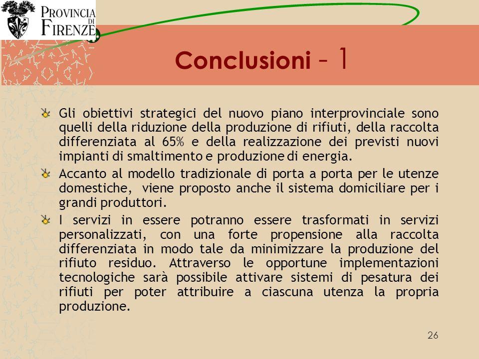 26 Conclusioni - 1 Gli obiettivi strategici del nuovo piano interprovinciale sono quelli della riduzione della produzione di rifiuti, della raccolta differenziata al 65% e della realizzazione dei previsti nuovi impianti di smaltimento e produzione di energia.