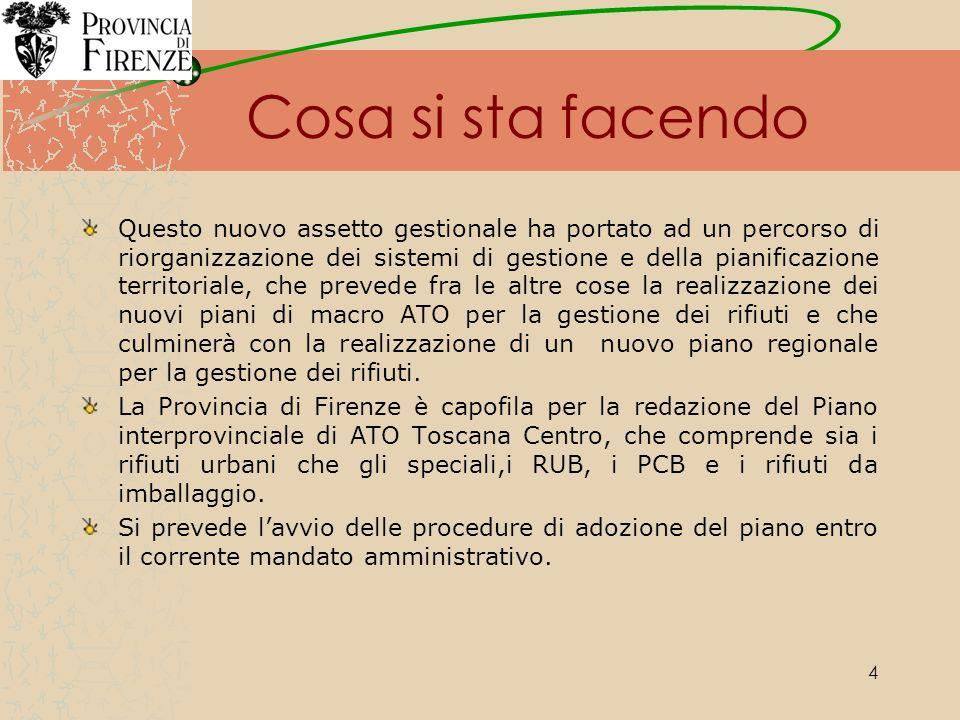 25 Trend della produzione dei rifiuti speciali nelle Province di Firenze, Prato e Pistoia dal 2003 al 2006 Per ciascuna provincia sono indicate le variazioni percentuali di produzione di ogni anno rispetto al precedente.
