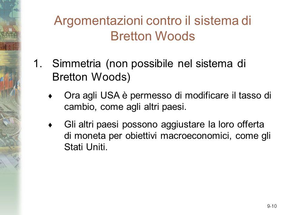 9-10 Argomentazioni contro il sistema di Bretton Woods 1.Simmetria (non possibile nel sistema di Bretton Woods) Ora agli USA è permesso di modificare il tasso di cambio, come agli altri paesi.