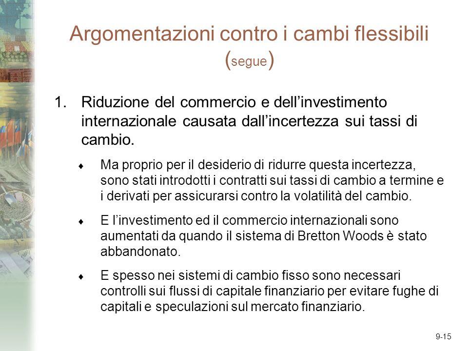 9-15 Argomentazioni contro i cambi flessibili ( segue ) 1.Riduzione del commercio e dellinvestimento internazionale causata dallincertezza sui tassi di cambio.