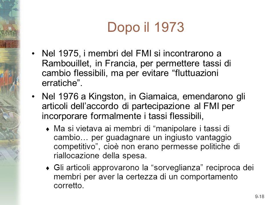 9-18 Dopo il 1973 Nel 1975, i membri del FMI si incontrarono a Rambouillet, in Francia, per permettere tassi di cambio flessibili, ma per evitare fluttuazioni erratiche.