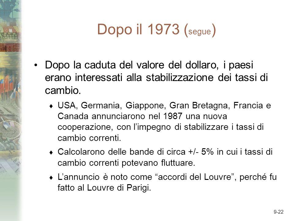 9-22 Dopo il 1973 ( segue ) Dopo la caduta del valore del dollaro, i paesi erano interessati alla stabilizzazione dei tassi di cambio. USA, Germania,