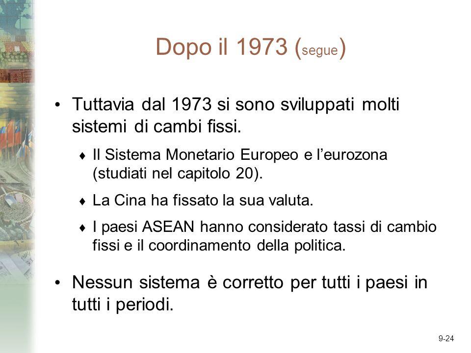 9-24 Dopo il 1973 ( segue ) Tuttavia dal 1973 si sono sviluppati molti sistemi di cambi fissi. Il Sistema Monetario Europeo e leurozona (studiati nel