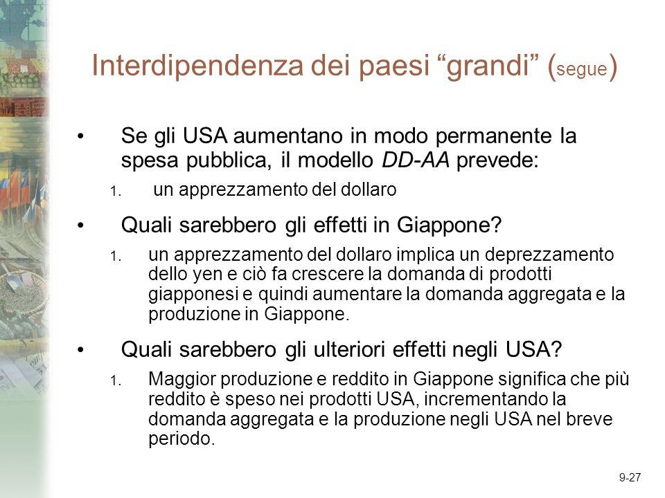 9-27 Interdipendenza dei paesi grandi ( segue ) Se gli USA aumentano in modo permanente la spesa pubblica, il modello DD-AA prevede: 1. un apprezzamen