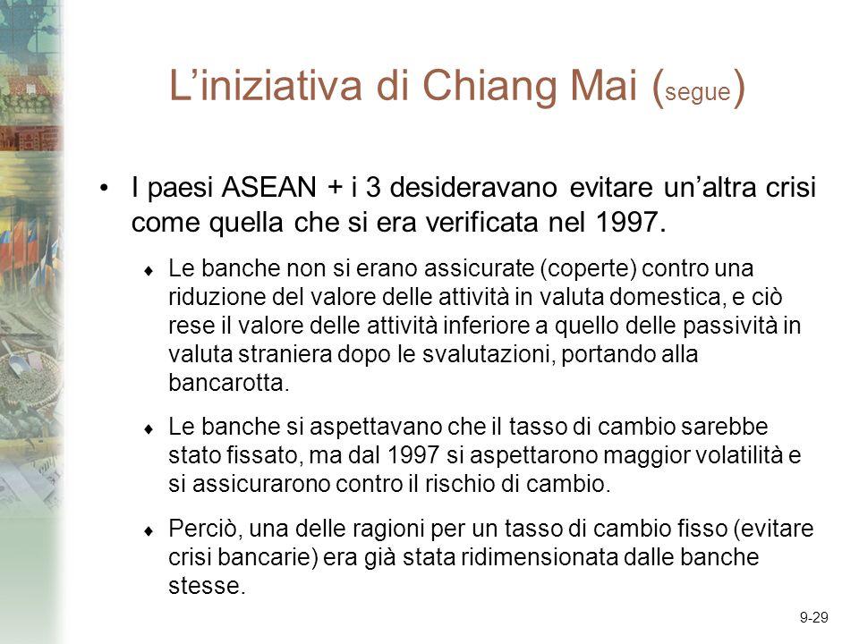 9-29 Liniziativa di Chiang Mai ( segue ) I paesi ASEAN + i 3 desideravano evitare unaltra crisi come quella che si era verificata nel 1997. Le banche