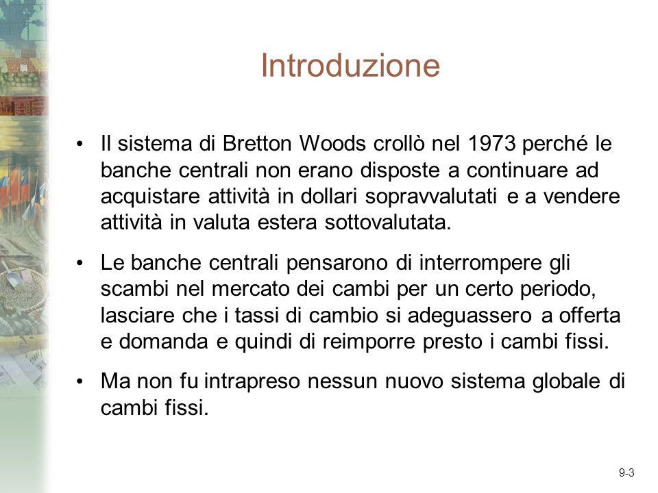 9-3 Introduzione Il sistema di Bretton Woods crollò nel 1973 perché le banche centrali non erano disposte a continuare ad acquistare attività in dollari sopravvalutati e a vendere attività in valuta estera sottovalutata.