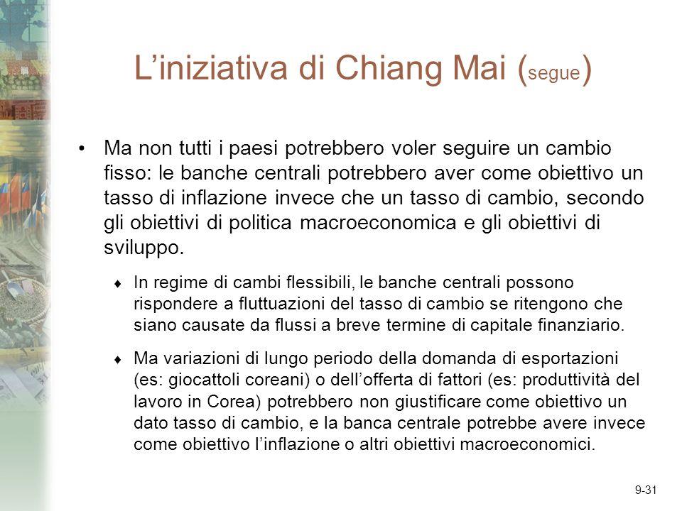 9-31 Liniziativa di Chiang Mai ( segue ) Ma non tutti i paesi potrebbero voler seguire un cambio fisso: le banche centrali potrebbero aver come obiettivo un tasso di inflazione invece che un tasso di cambio, secondo gli obiettivi di politica macroeconomica e gli obiettivi di sviluppo.