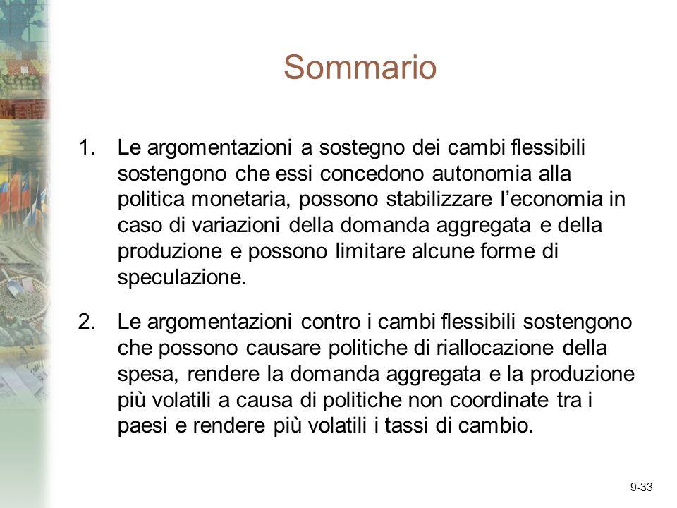 9-33 Sommario 1.Le argomentazioni a sostegno dei cambi flessibili sostengono che essi concedono autonomia alla politica monetaria, possono stabilizzar