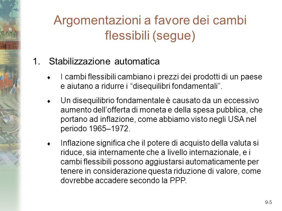 9-5 Argomentazioni a favore dei cambi flessibili (segue) 1.Stabilizzazione automatica I cambi flessibili cambiano i prezzi dei prodotti di un paese e aiutano a ridurre i disequilibri fondamentali.