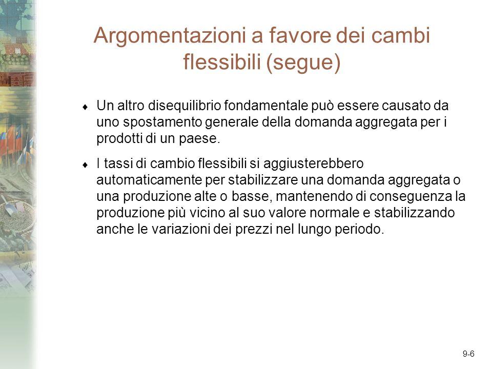 9-6 Argomentazioni a favore dei cambi flessibili (segue) Un altro disequilibrio fondamentale può essere causato da uno spostamento generale della domanda aggregata per i prodotti di un paese.
