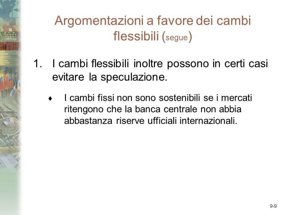 9-9 Argomentazioni a favore dei cambi flessibili ( segue ) 1.I cambi flessibili inoltre possono in certi casi evitare la speculazione. I cambi fissi n