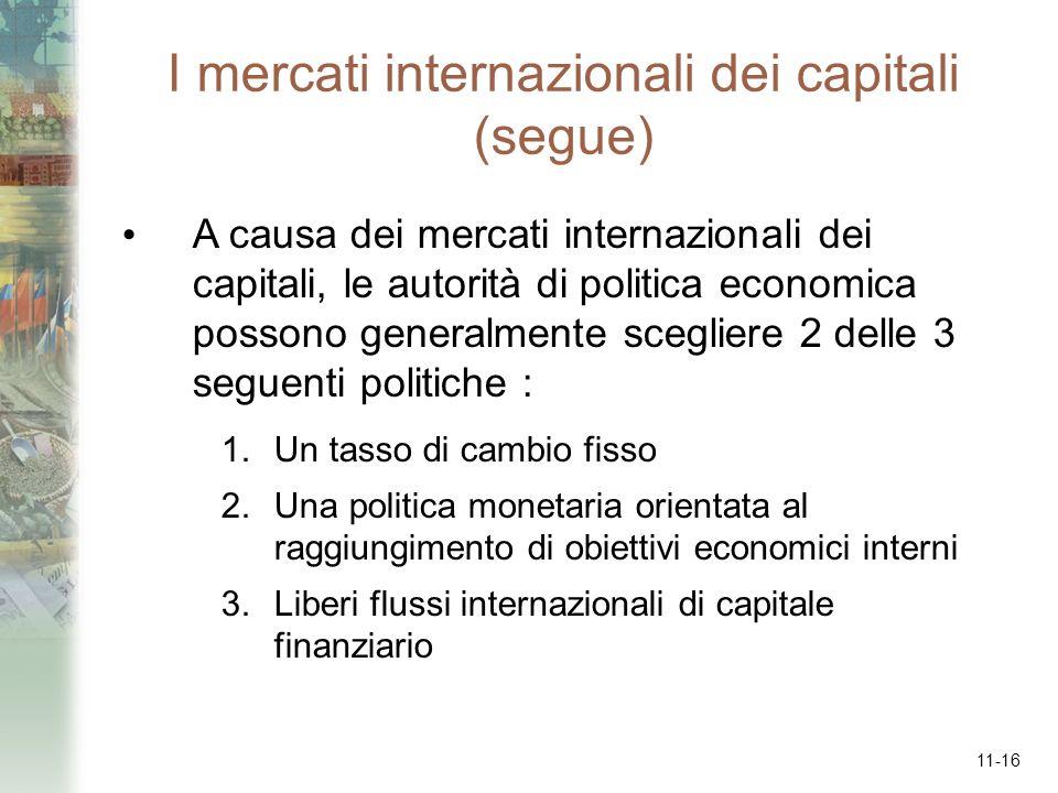11-16 I mercati internazionali dei capitali (segue) A causa dei mercati internazionali dei capitali, le autorità di politica economica possono general