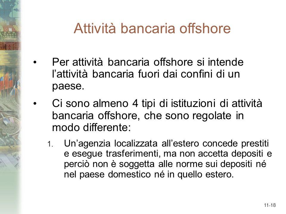 11-18 Attività bancaria offshore Per attività bancaria offshore si intende lattività bancaria fuori dai confini di un paese. Ci sono almeno 4 tipi di