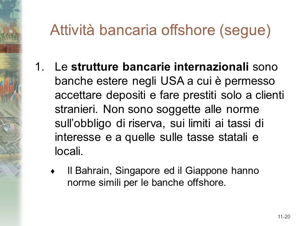 11-20 Attività bancaria offshore (segue) 1.Le strutture bancarie internazionali sono banche estere negli USA a cui è permesso accettare depositi e far