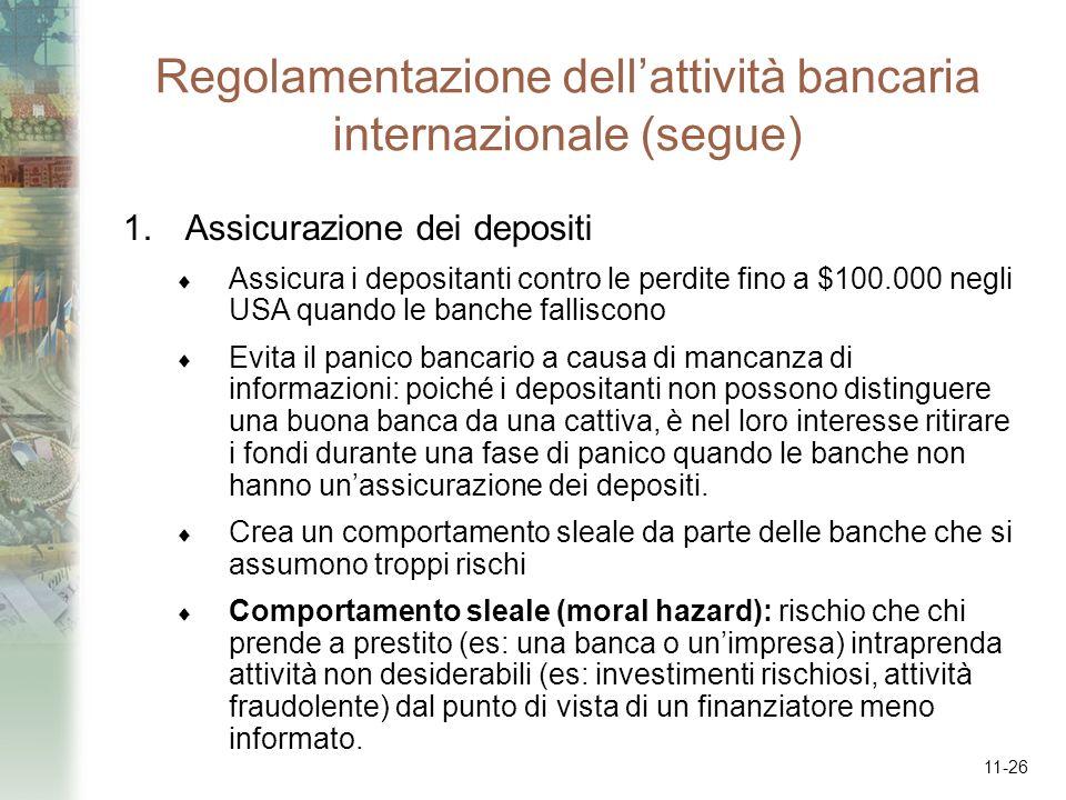 11-26 Regolamentazione dellattività bancaria internazionale (segue) 1.Assicurazione dei depositi Assicura i depositanti contro le perdite fino a $100.