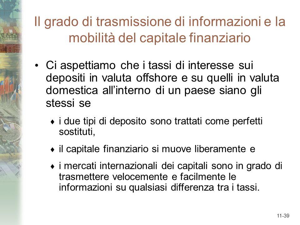 11-39 Il grado di trasmissione di informazioni e la mobilità del capitale finanziario Ci aspettiamo che i tassi di interesse sui depositi in valuta of