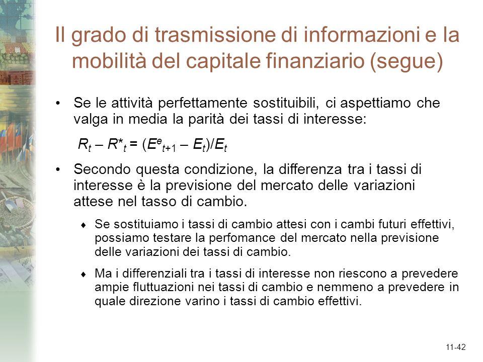 11-42 Il grado di trasmissione di informazioni e la mobilità del capitale finanziario (segue) Se le attività perfettamente sostituibili, ci aspettiamo